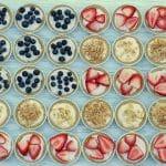 An American flag made of Mini No Bake Cheesecakes