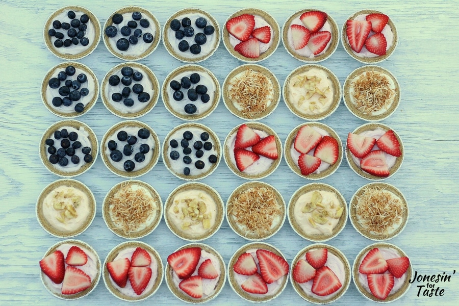 An American flag made of Mini No Bake Cheesecakes