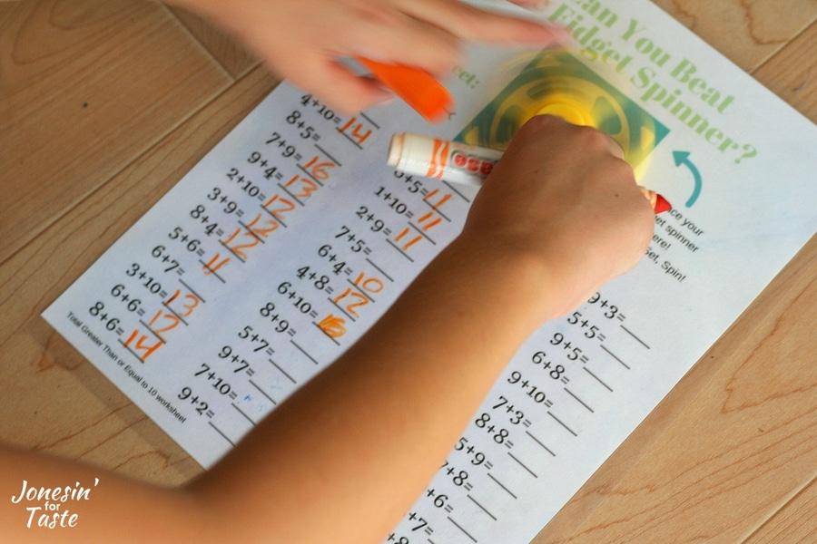 Fidget Spinner Addition Worksheets