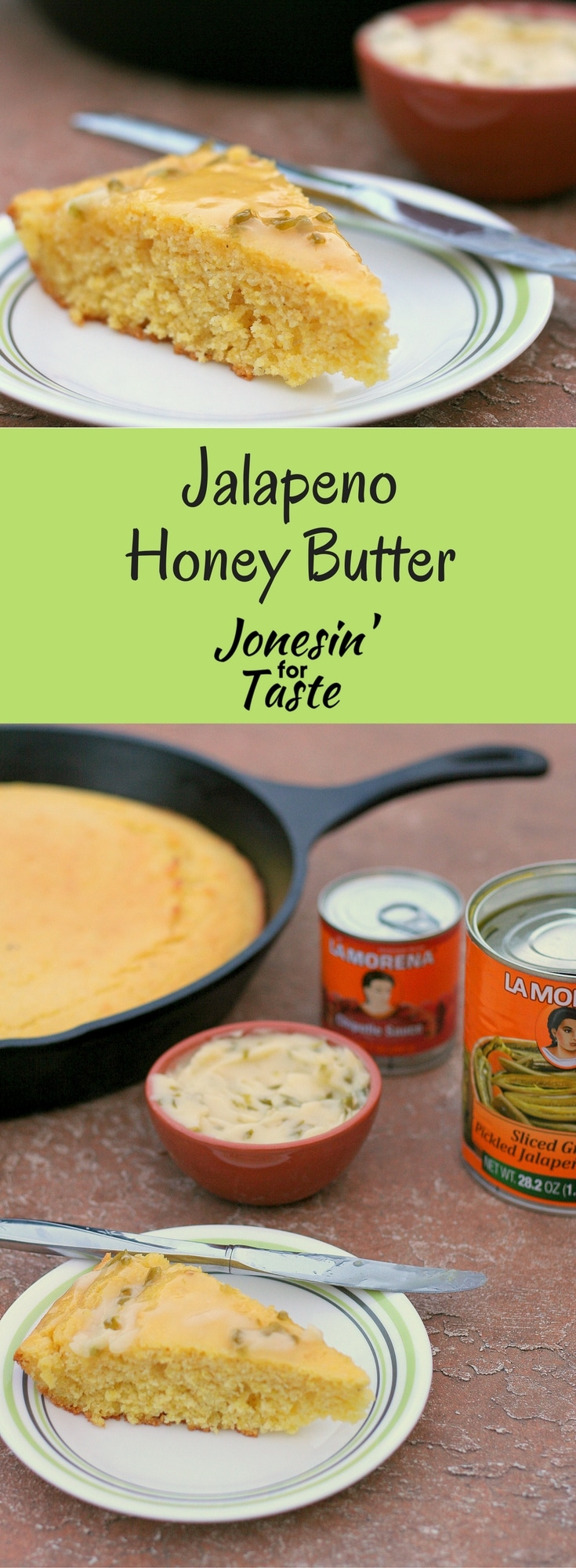 Jalapeno Honey Butter is a classic side dish reinvented using 3 simple ingredients with a new kick that whips up in a flash.  #ad #VivaLaMorena #CollectiveBias