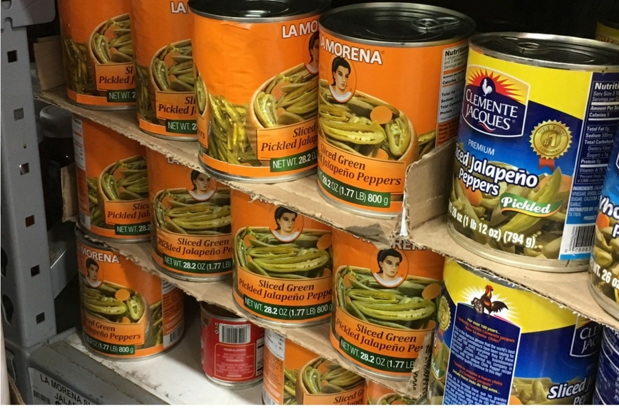 cans of La Morena sliced jalapenos in the store