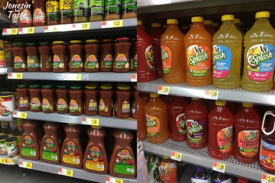An in store picture of the salsa and V8 juice