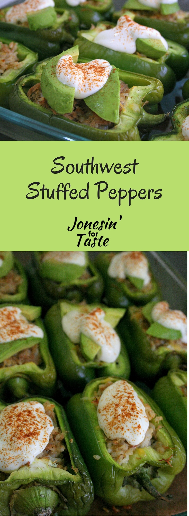 These Southwest Stuffed Peppers are a great super quick 30 minute meal and leftover buster to use up small amounts of leftover meats and rice.
