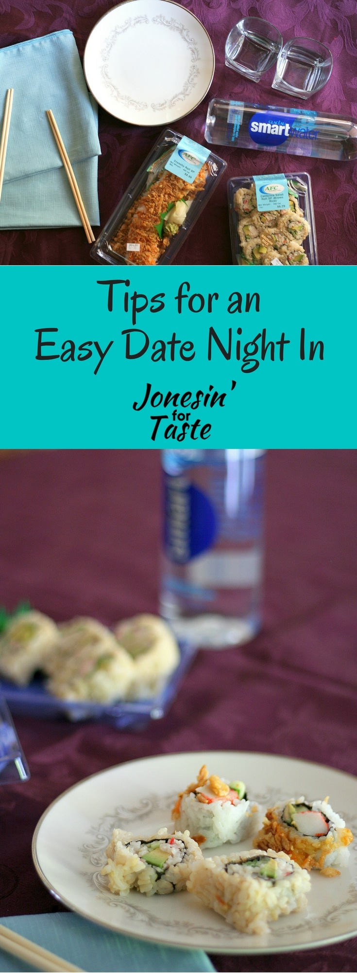 #ad Some ideas on how to dress up the dinner table and add store bought sushi and bottled water for an easy date night in. #ServeWithACoke #Kroger #CollectiveBias