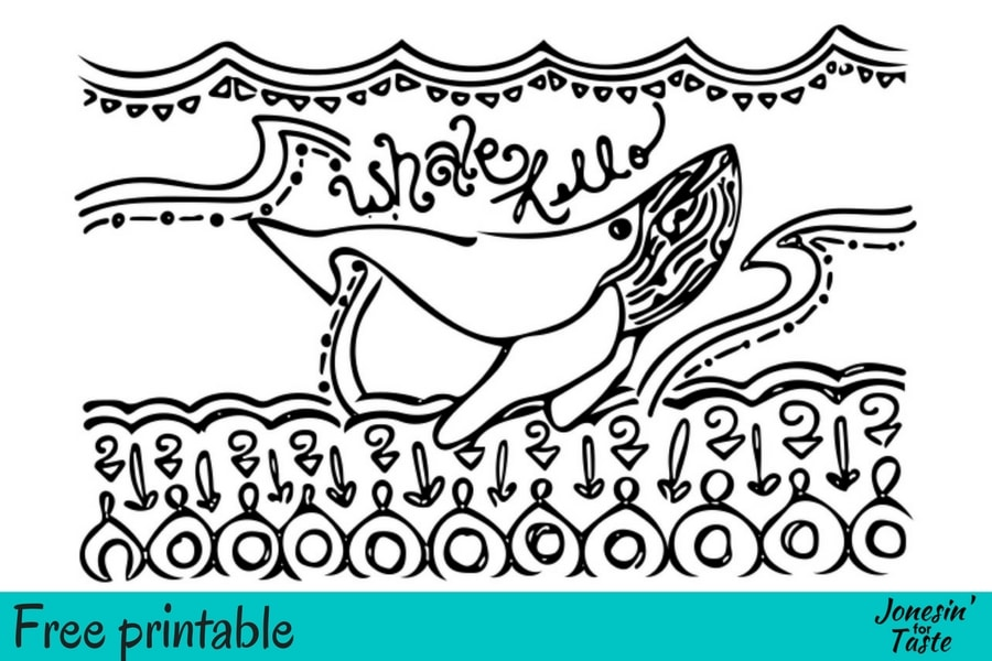 A whale coloring page of a whale swimming under water