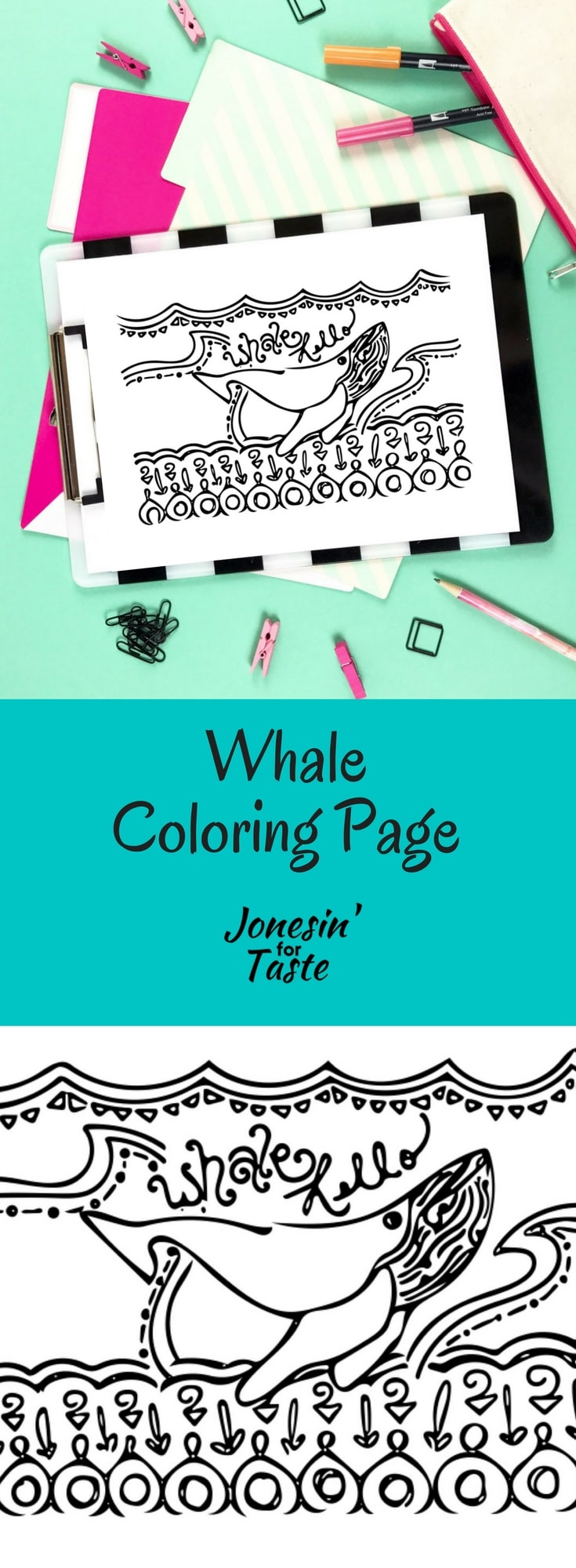 Take some time to de-stress, channel your inner child, and dream of the beautiful ocean with this whale coloring page.