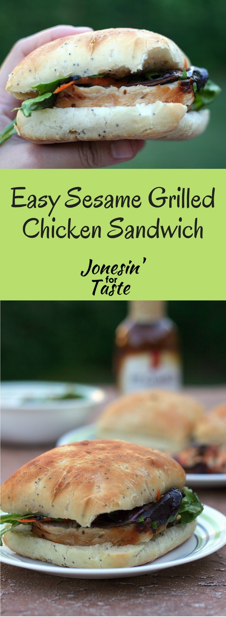 #ad Keep things simple on a busy weeknight with this Easy Sesame Grilled Chicken Sandwich topped with a spring lettuce mix on a ciabatta roll. #GrillingMadeSimple #CollectiveBias