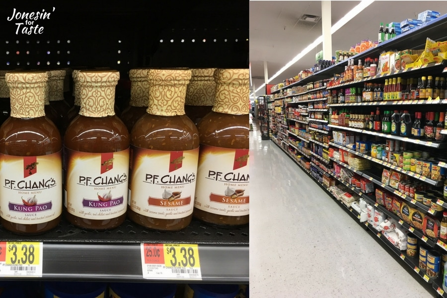 PF Chang's bottled marinade on the shelf in store with a picture of an aisle