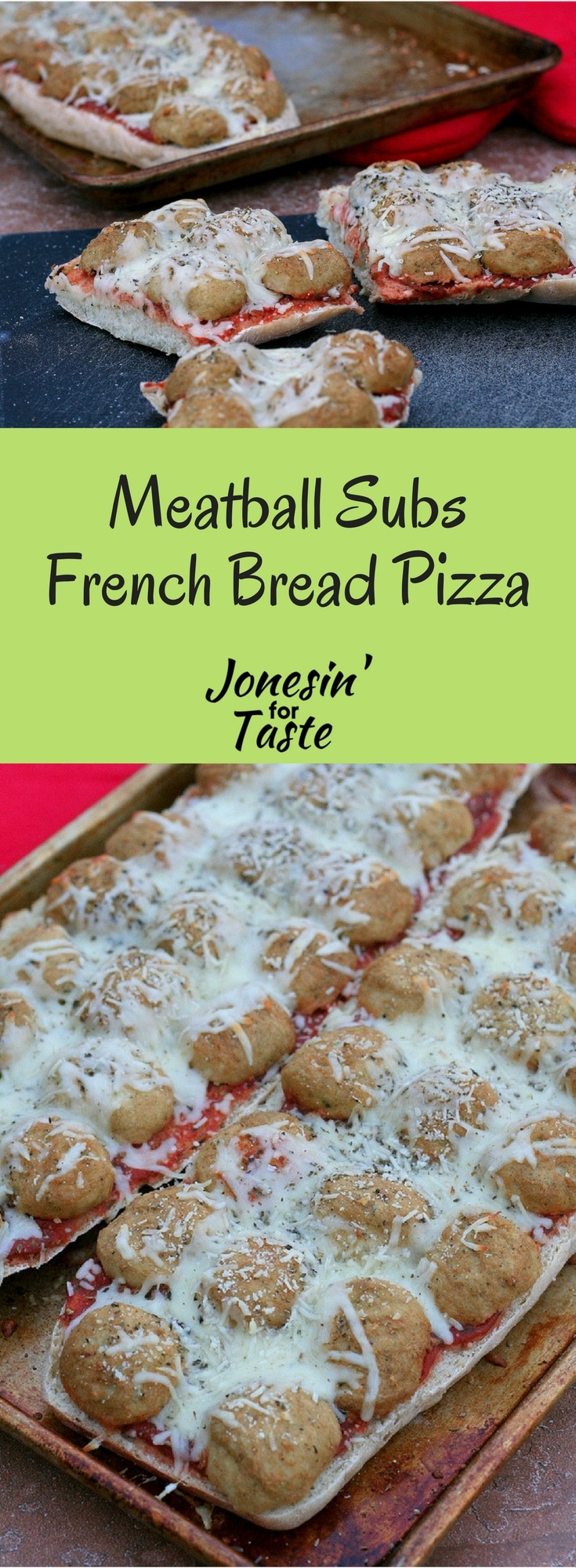Turn the classic meatball sub into a Meatball Sub French Bread Pizza for a quick 30 minute dinner to feed a crowd that is sure to please the kids.
