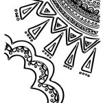 An abstract doodled cloud and sun coloring page