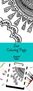 An intricately doodled sun and cloud are the star of this Sun Coloring Page and a fun way to remember the beautiful rays of summer.