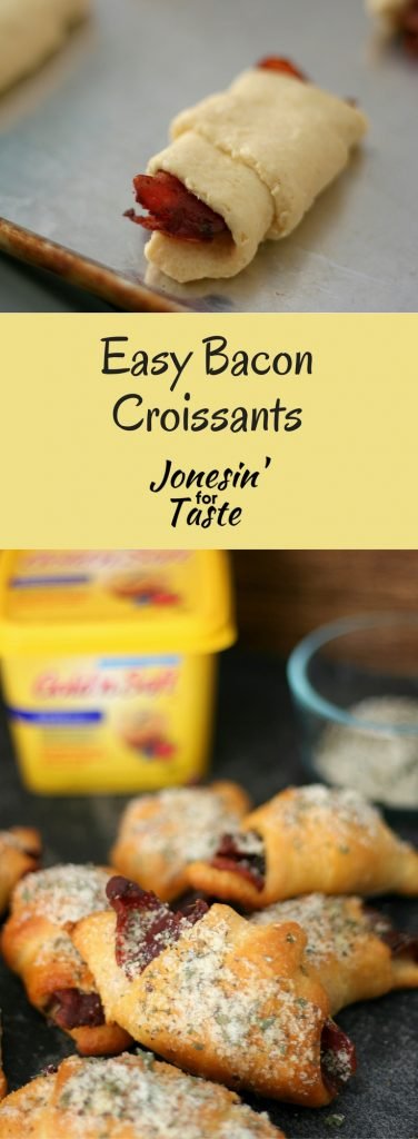 #ad These Easy Bacon Croissants topped with a Parmesan and herb topping are a tasty option for busy breakfast mornings, especially when paired with eggs. #CapturingTraditions #CollectiveBias