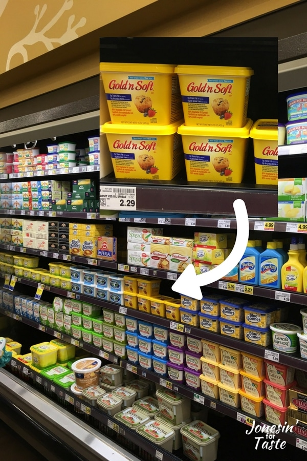 An in store photo showing where to find Gold n Soft spread