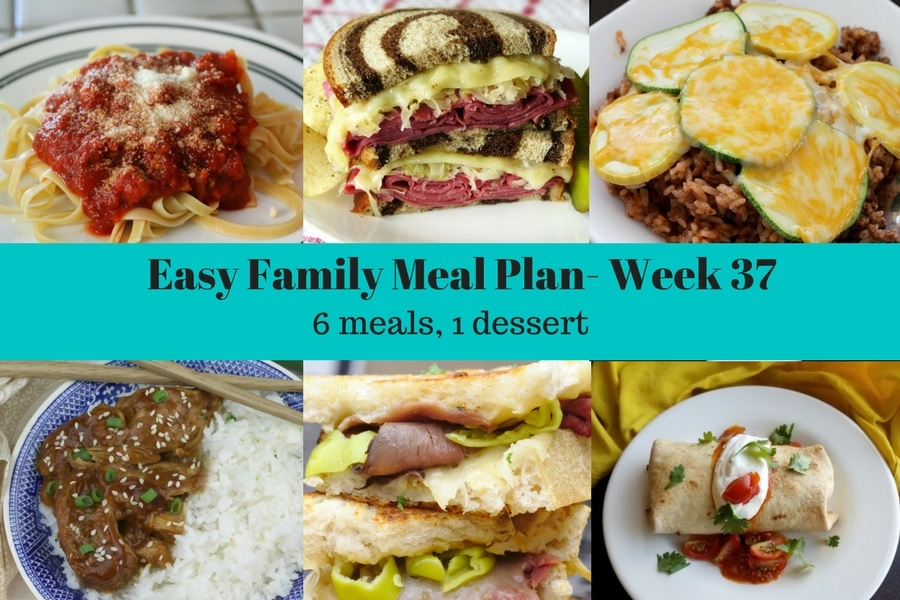A collage with the pictures for the main dishes for week 38 of the easy family meal plan
