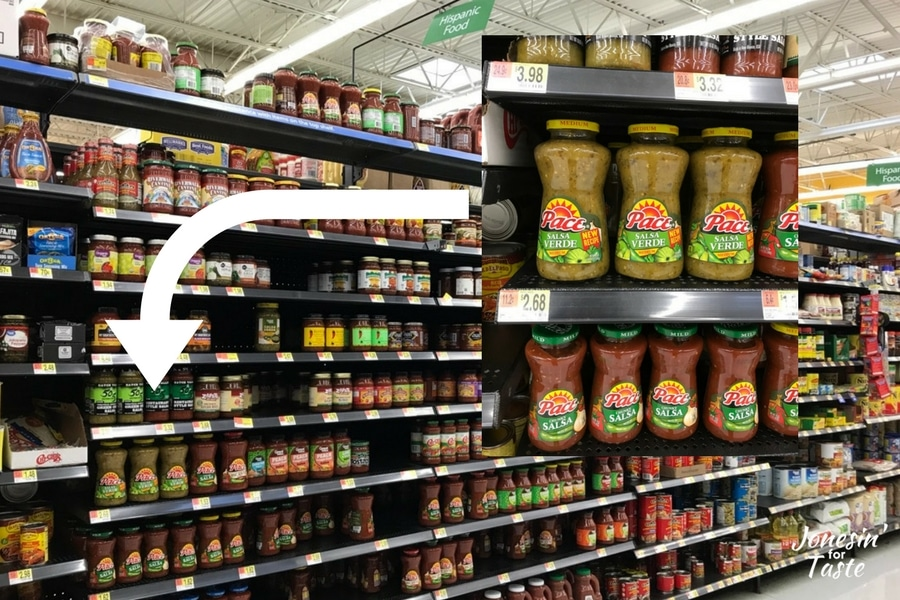 A photo of Pace Salsa Verde and where it's located in Walmart