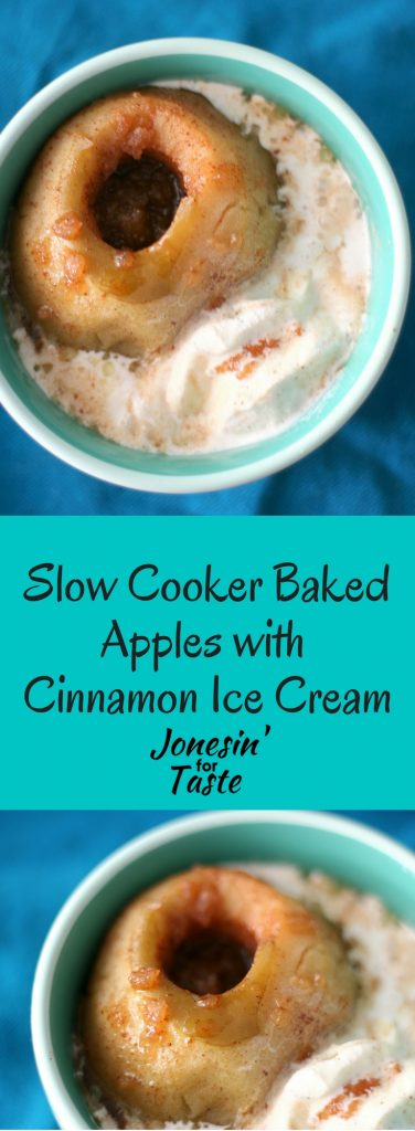 Slow Cooker Baked Apples are a treat you can enjoy year round thanks to your slow cooker and delicious when paired with an easy cinnamon ice cream #appleweek