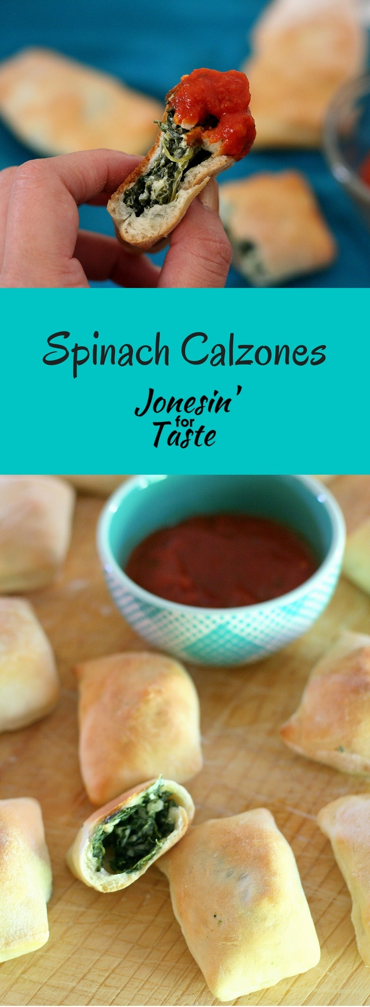 Easy Mini Spinach Calzones is a tasty appetizer with a creamy Parmesan spinach filling that is a crowd pleaser for game day.