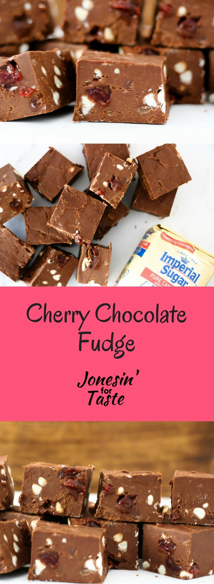Cherry Chocolate Fudge with White Chocolate Chips is a decadent dessert filled with maraschino cherries and white chocolate. #choctoberfest