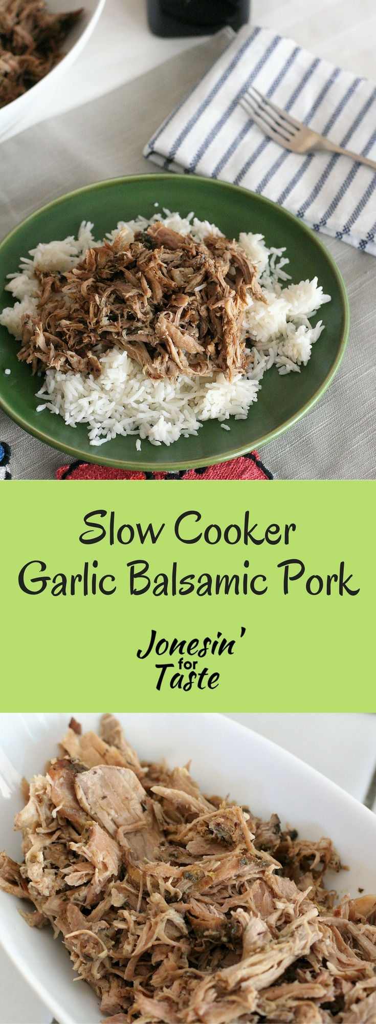 Slow Cooker Garlic Balsamic Pork is a flavorful tangy and simple main dish that can be easily re-purposed into other dishes. #slowcooker