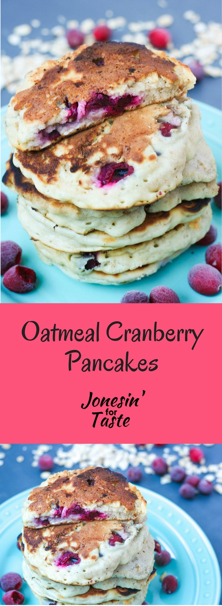 Oatmeal Cranberry Pancakes are a hearty, tart and sweet way to wake up on a fall morning with fresh cranberries and oatmeal in a breakfast classic. #cranberryweek #oatmealpancakes