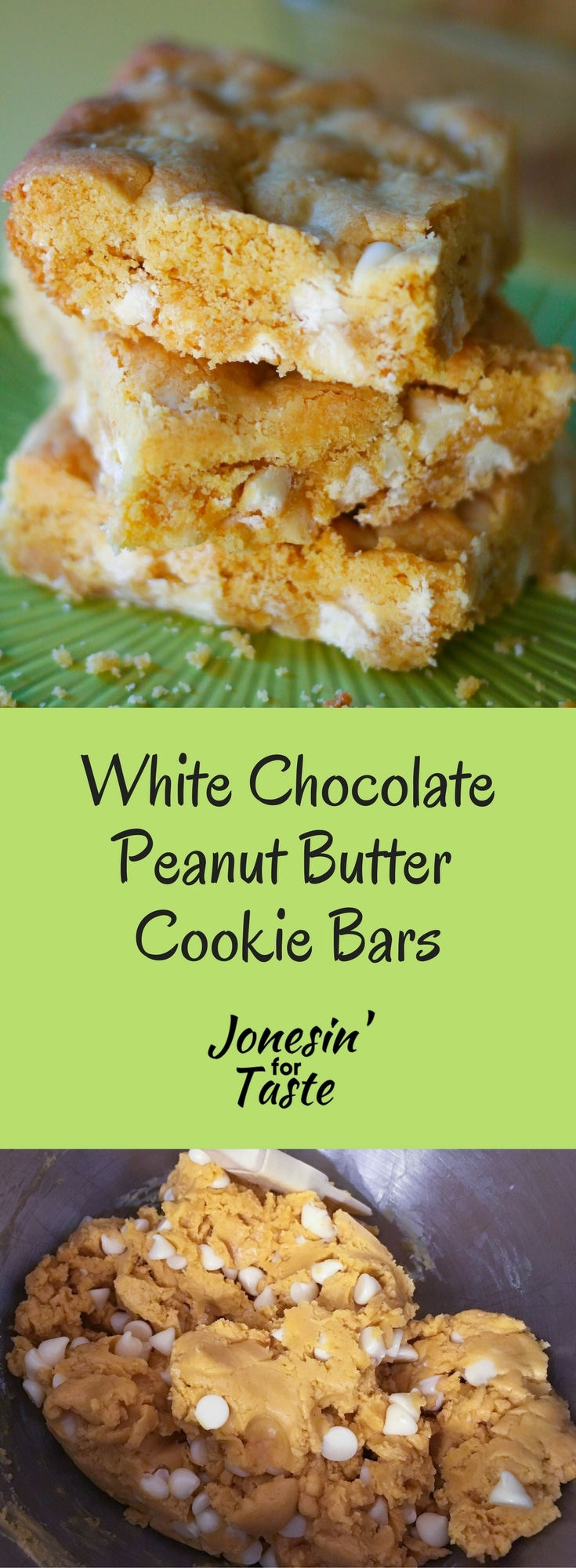 Easy White Chocolate Peanut Butter Cookie Bars use a cake mix base and creamy peanut butter and are chock full of white chocolate chips. #cookies #easycookierecipes