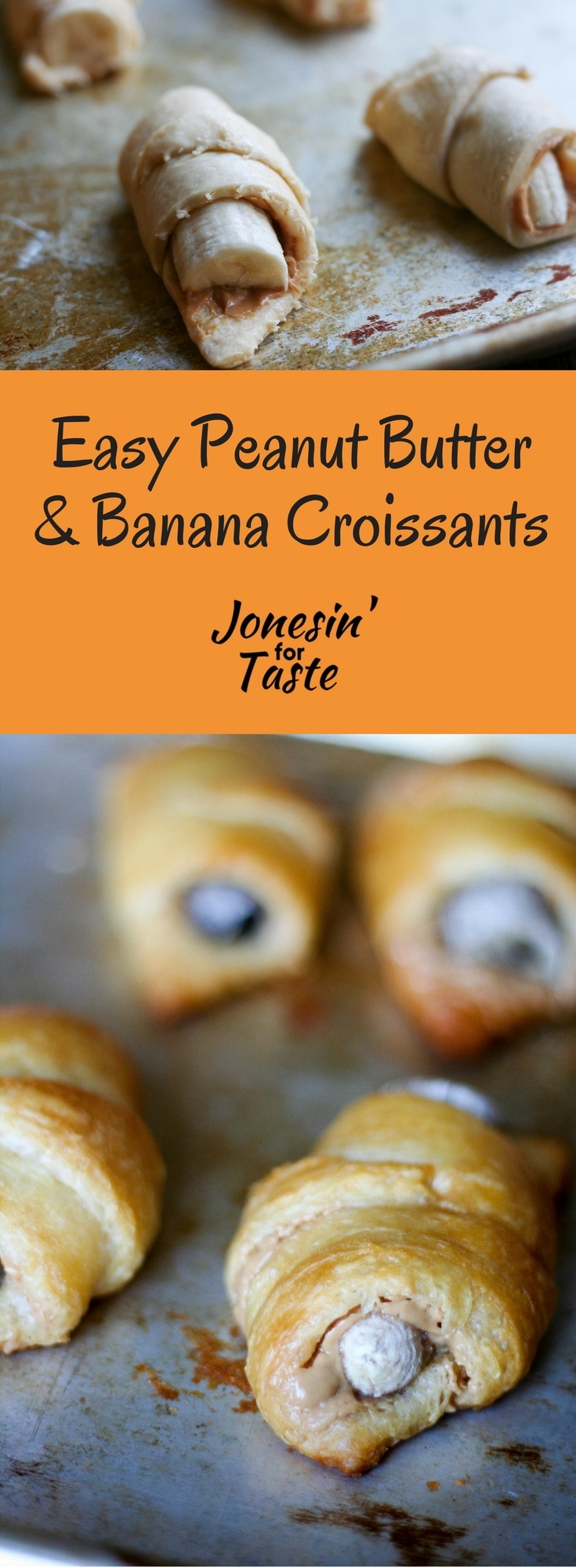 Easy Peanut Butter and Banana Croissants are a super quick breakfast to make on a busy school morning that any banana lover will gobble up. #peanutbutterandbanana