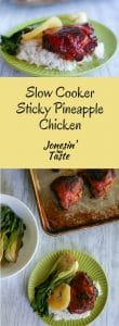 Slow Cooker Sticky Pineapple Chicken is cooked in the slow cooker and crisped up in the oven and made with only a few ingredients for a deliciously sweet and sticky dinner.