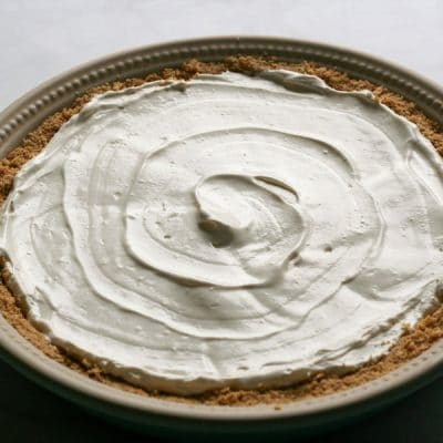 A No Bake Key Lime Pie filling swirled into the crust without coconut topping