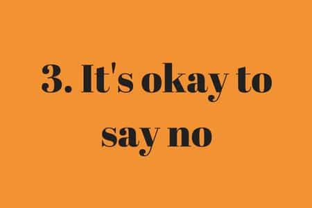 orange graphic that says it's okay to say no