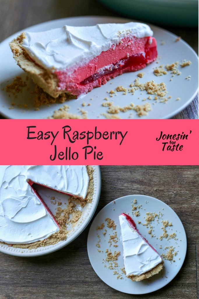 A beautiful three layered pie made with raspberry jello and cool whip in a graham cracker crust for a quick and delicious no bake dessert.