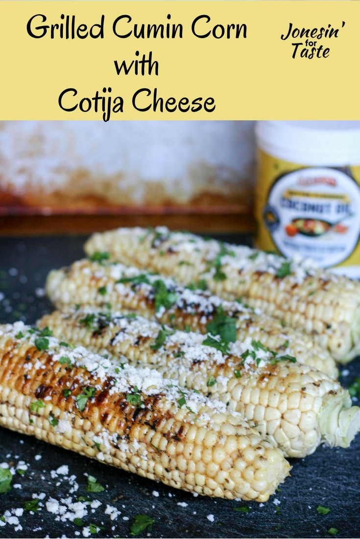 #ad Grilled corn brushed with cumin lemon butter and topped with cotija cheese is easy and packed full of flavor everyone will love. #jonesinfortaste #cookoutweek #easyrecipes #grilling @Barleans
