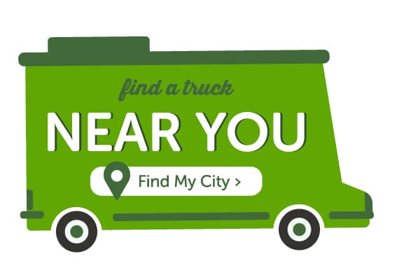A green truck graphic that says find a truck near you