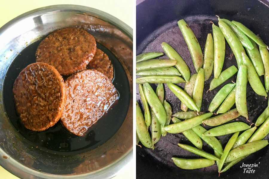 Marinating veggie burgers on the left and sauteed sugar snap peas on the right.