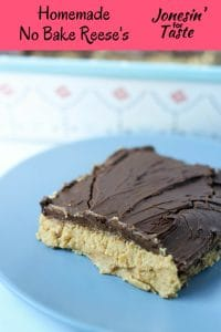 No Bake Peanut Butter Bars have a creamy peanut butter base topped with a simple melted chocolate topping to create an easy homemade no bake Reese's knockoff.