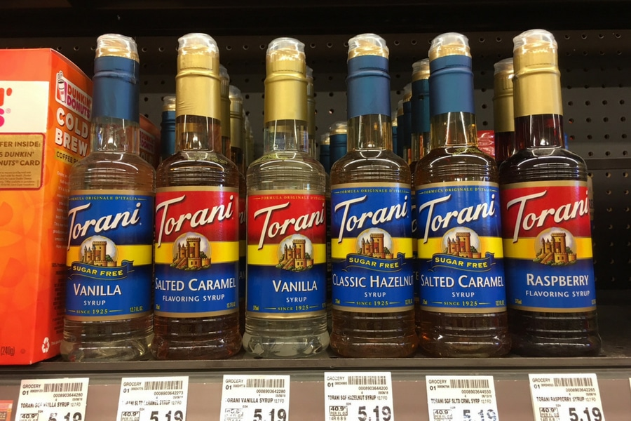 Torani syrups on a store shelf
