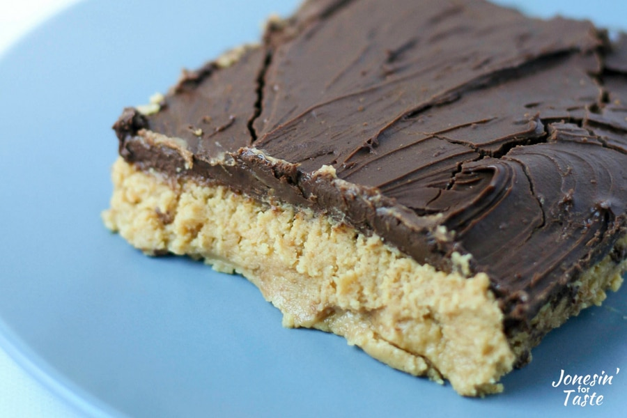 A creamy peanut butter base topped with chocolate.
