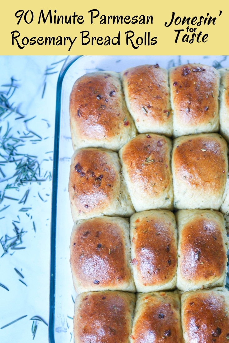 #ad 90 Minute Whole Wheat Parmesan Rosemary Bread Rolls made with whole wheat flour, olive oil, parmesan, and rosemary that make your house smell like a bakery. #jonesinfortaste #rosemarybread #homemadebread #rollrecipes #rosemaryparmesan #thanksgivingrolls