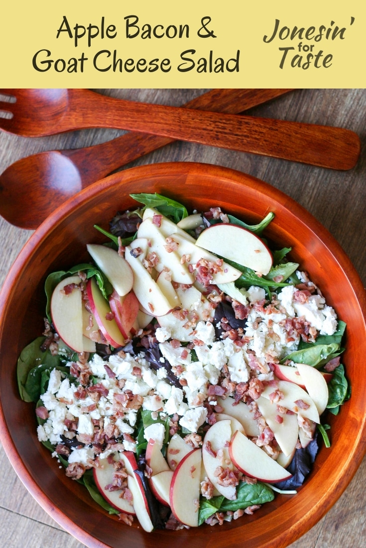 This easy salad is big on flavor with tart apples, salty bacon, and savory goat cheese with mixed greens and a simple homemade honey mustard dressing. #jonesinfortaste #appleweek #saladrecipe #easyrecipes
