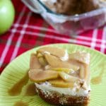 [ad] Apple Spice Poke Cake is a semi homemade cake with a spice cake base, caramel glaze, fresh whipped cream, and topped with super simple spiced apples. #jonesinfortaste #appleweek #easycakerecipes #pokecakes #caramel