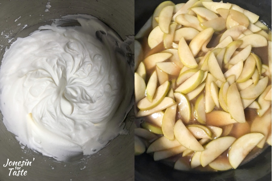collage showing whipped cream on the left and spiced apples on the right