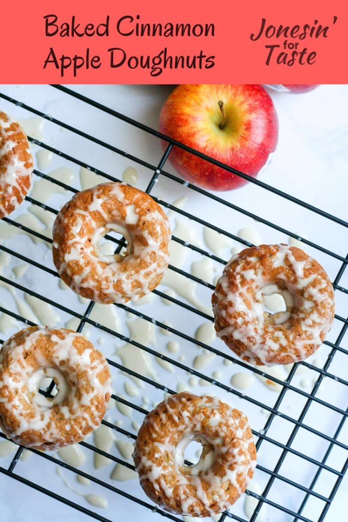 [ad] These Baked Cinnamon Apple Doughnuts are a much healthier cousin to traditional doughnuts but are still a favorite with the kids and moms. #jonesinfortaste #appleweek #doughnuts #apples