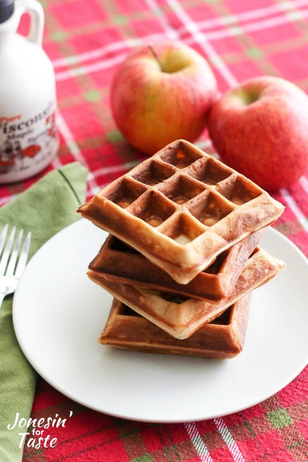 A stack of Chai spiced apple waffles
