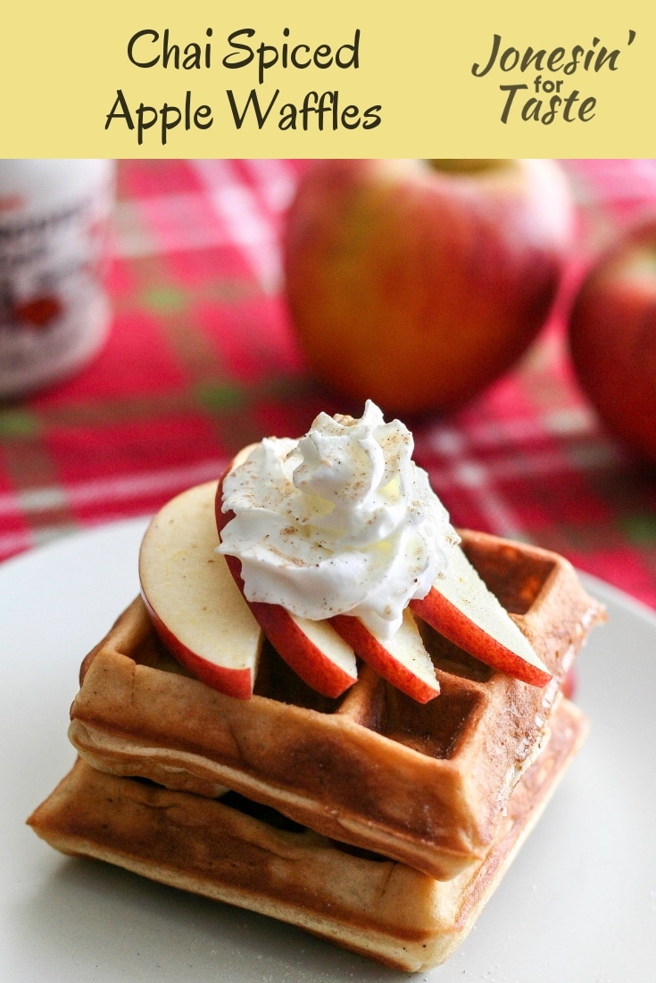 [ad] Chai Spiced Apple Waffles are filled with little apple bites and wonderful chai spice for a wonderful way to wake up in the morning. #jonesinfortaste #appleweek #waffles #apples #chai