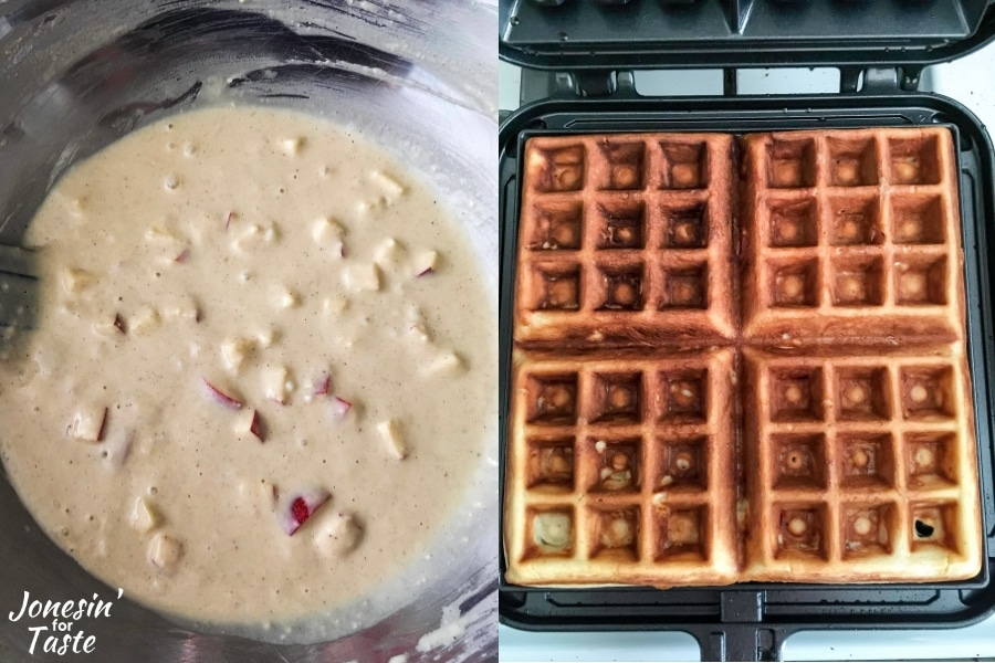 Collage with waffle batter on left and finished waffles in pan on the right