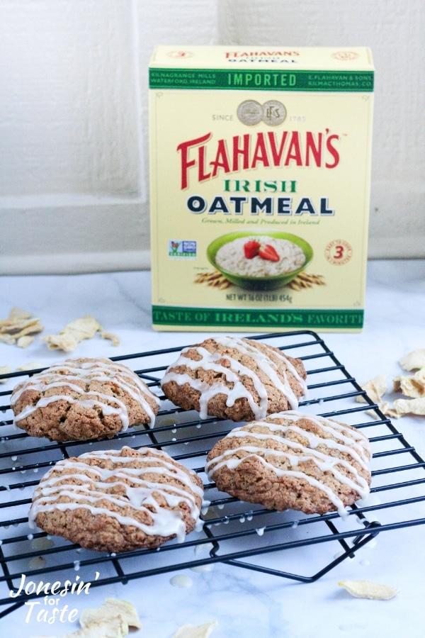 Cinnamon Apple Iced Oatmeal Cookies next to a box of oatmeal