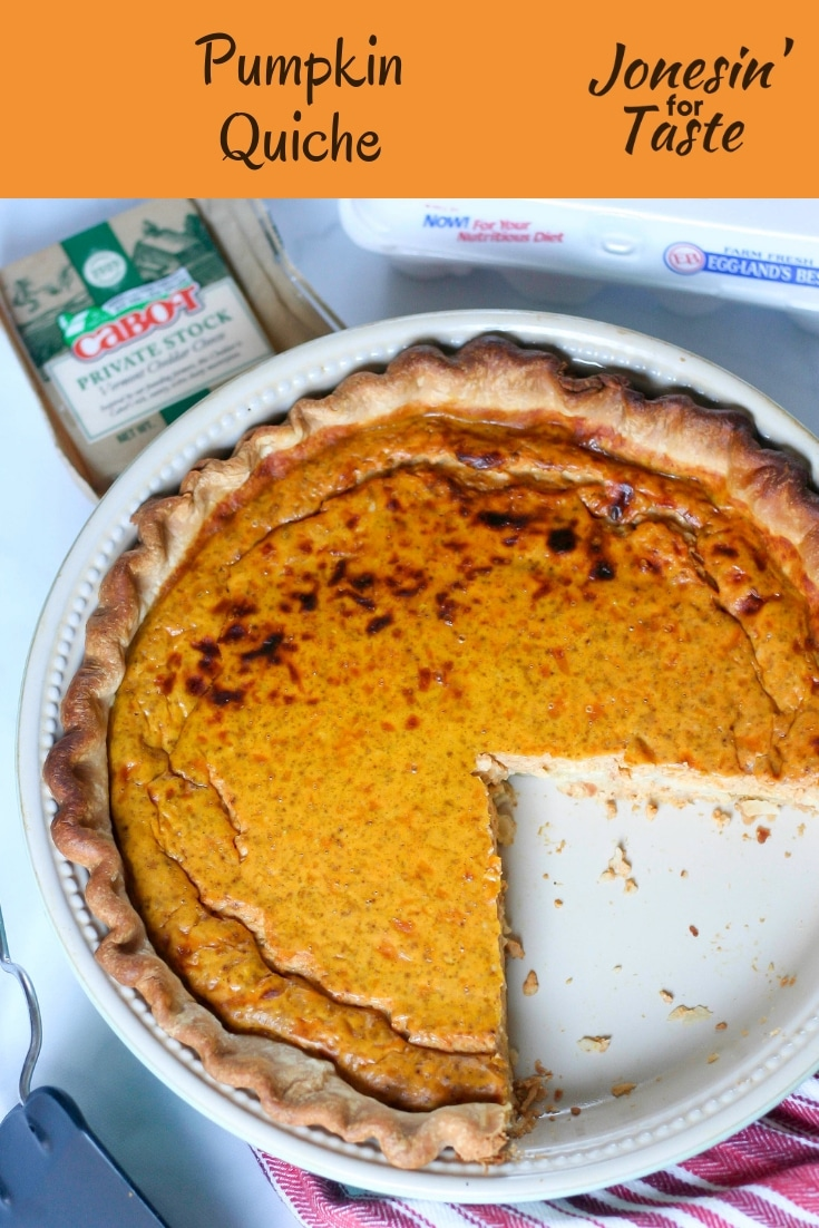 #ad Full of the flavors of fall, Pumpkin Quiche is full of pumpkin and white cheddar flavor and lightly spiced with ginger, ground cloves, and nutmeg. @cabotcheese @egglandsbest #jonesinfortaste #pumpkinweek #pumpkinrecipes #quiche #pumpkin #meatless