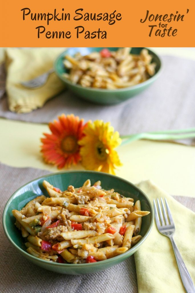 Creamy Pumpkin Sausage Penne Pasta is an easy 30 minute recipe that brings the flavors of fall to the kitchen table with pumpkin puree and ground sausage. #jonesinfortaste #pumpkinweek #easydinnerrecipes #30minutemeals #pumpkin