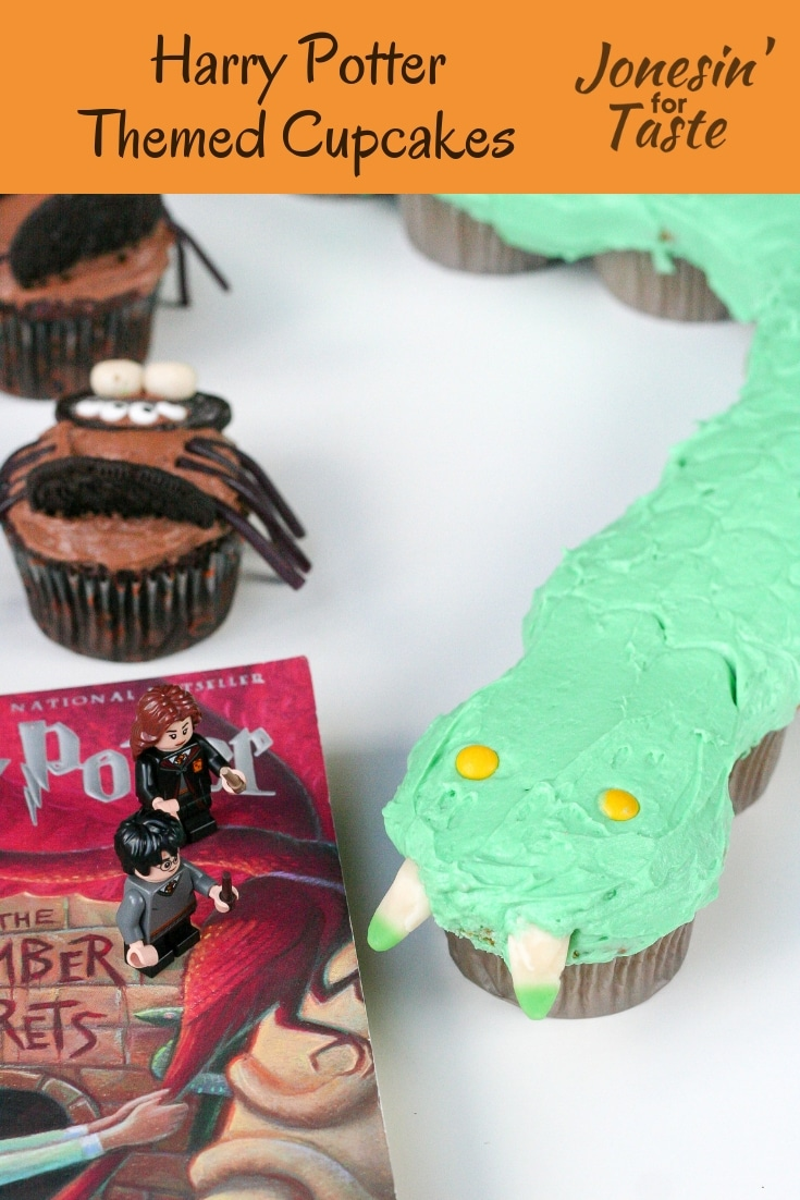 These spooky (and cute!) Basilisk and giant spider Harry Potter Themed Cupcakes will make any fan jump for joy (or fear) and make an easy treat for a Harry Potter party. #jonesinfortaste #harrypotterparty #halloween
