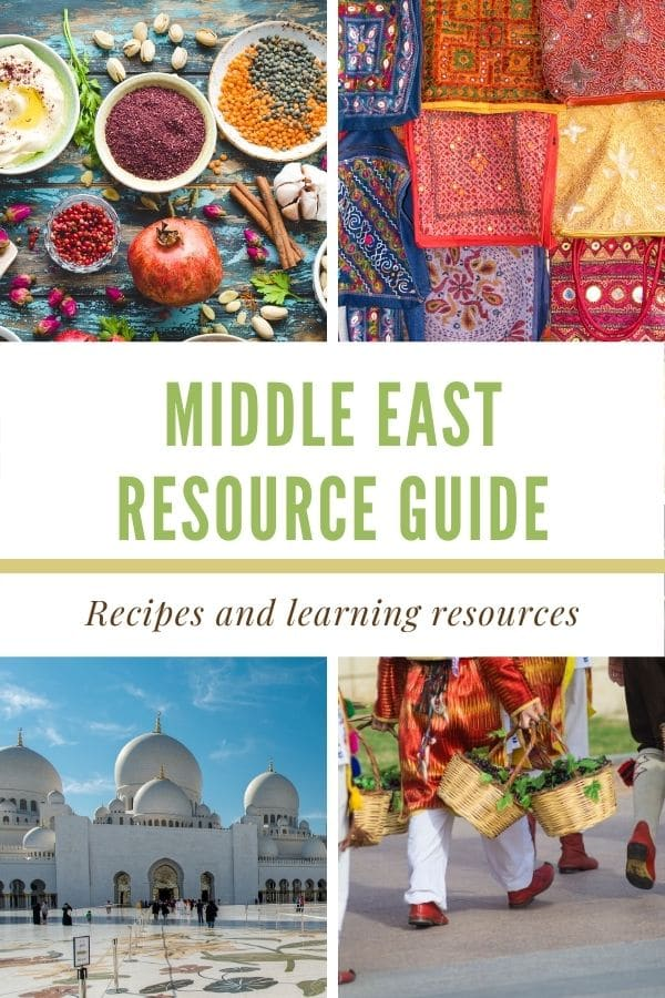 a 4 photo collage with text graphic in the center that reads Middle East Resource Guide, recipes and learning resources