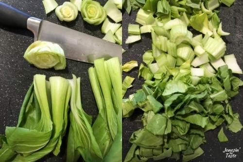 Collage showing how to chop the bok choy.